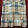 Burberry London Classic Nova Check Pleated Wool Skirt
