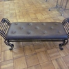 Cushioned Wrought Iron Bench